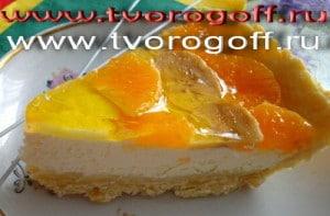 Торт бисквитный творог, желе, фрукты