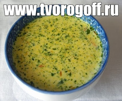 Суп из сыра яиц и хлеба
