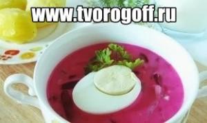 Суп холодный по-литовски свекла, огурцы, лук