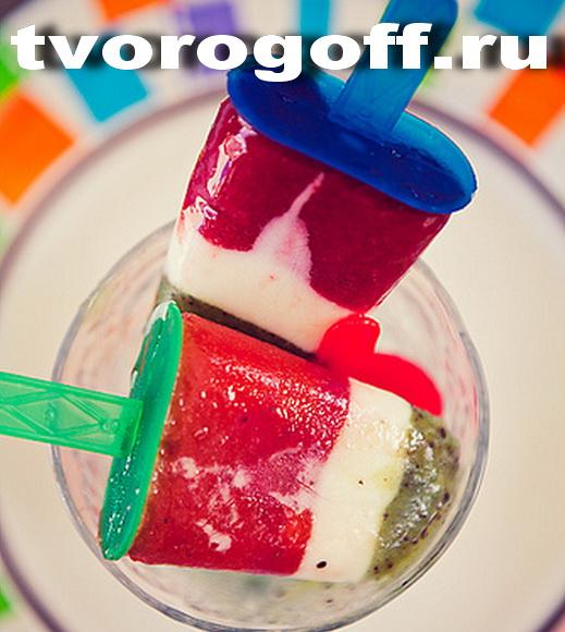 Мороженое фруктовое киви, папайя, клубника дома. Фруктовый лёд.