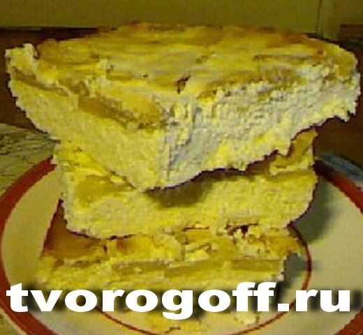 Почти чизкейк творожный банан, яблоко, сметана. Торт творожный.
