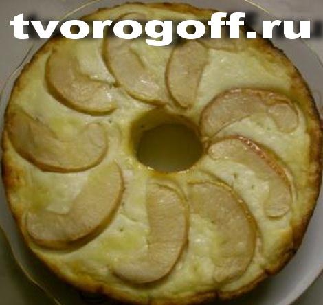 Пудинг из творога яблочный, молоко, манка