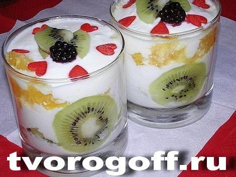 Творожный десерт сметана, фрукты разные