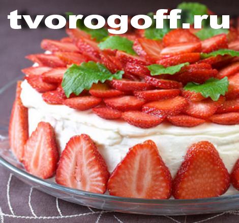 Торт с творогом «Клубничка»
