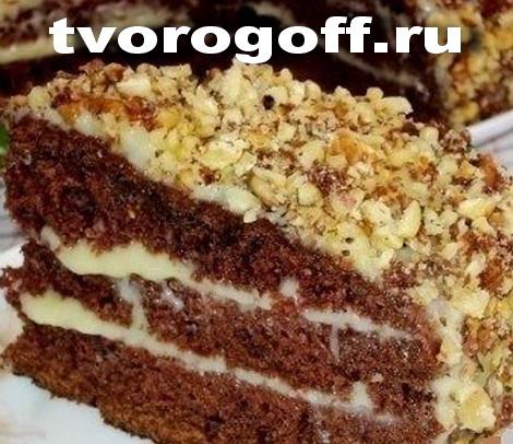 Кефирный, шоколадный торт «Впечатление» со сметанным кремом