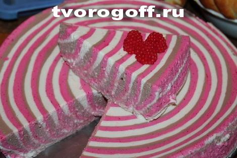 Десерт «Полосатый» из творога, сметаны