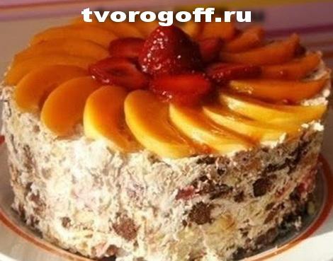 Десерт «Лентяйка» из творога, печенья
