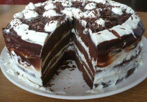 Торт «Шоколадка» с творогом, сливками