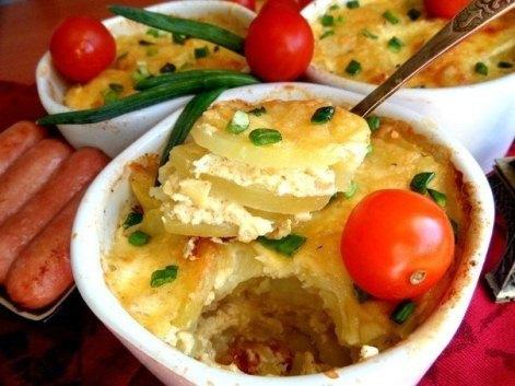 Французская картошка с сыром, сливками