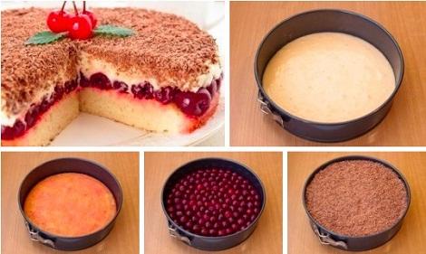 Пирог вишневый с кремом сырным, сливочным