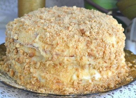 Торт Наполеон, сковорода, крем, молоко, масло. Слоеный торт жарим.