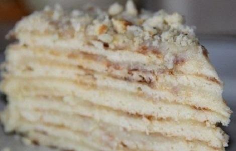 Торт быстрый сгущенка, молочный крем, ванилин. Быстрая выпечка.