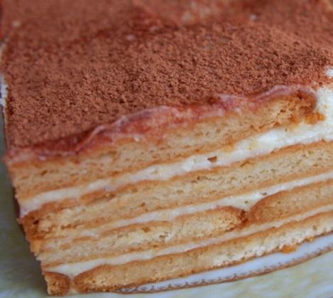 Вкусный завтрак торт без выпечки. Десерт творог крем заварной печенье.