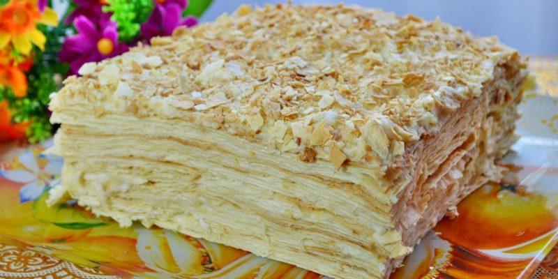 Торт без выпечки Наполеон. Заварной крем, тонкий лаваш, орехи.